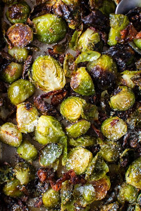 Roasted Brussels Sprouts with Bacon & Parmesan Cheese