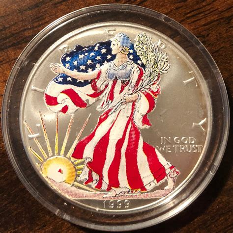 1999 Painted American Eagle Silver Dollar - For Sale, Buy