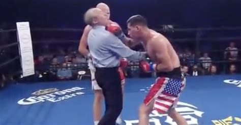 VIDEO   Boxing referee gets hammered by a punch   BJPenn