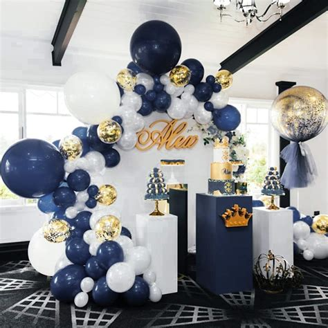 Blue and Gold Balloons 50 pcs 12 inch Navy Blue Balloons