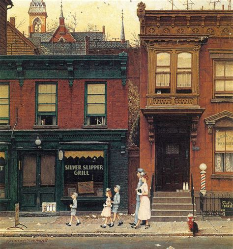 Walking to Church, 1953 by Norman Rockwell - Paper Print