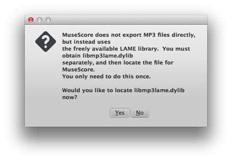 [Mac OS X] MuseScore can't open LAME library for MP3