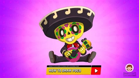 How to draw Poco super easy with coloring page | Brawl
