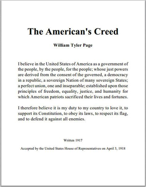 American's Creed by William Tyler Page | Student Handouts
