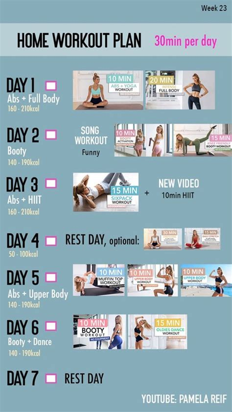 Workout plan by Pamela Reif in 2020   At home workout plan