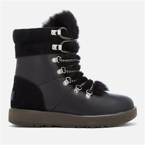 UGG Women's Viki Waterproof Leather Lace Up Boots - Black