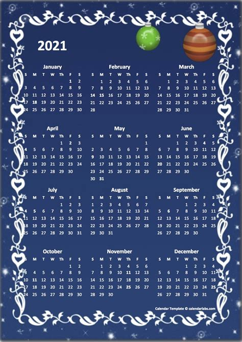 2021 Yearly Calendar Design Template - Free Printable