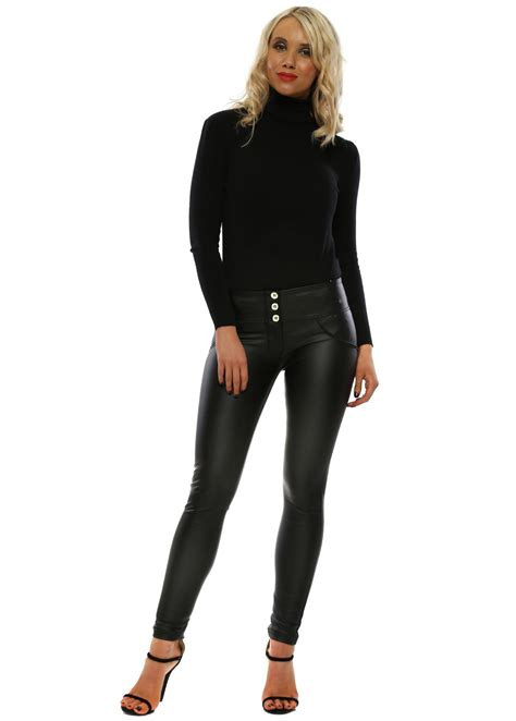 Freddy Faux Leather Three Button Mid Rise Skinny Up Lift Pants